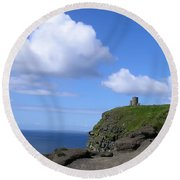 Castle On The Cliffs Of Moher Round Beach Towel
