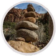 Castle Rock Cairn Round Beach Towel by Darcy Michaelchuk