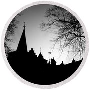Castle Silhouette Round Beach Towel by Semmick Photo