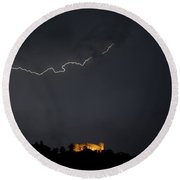 Castle With Lightning Round Beach Towel