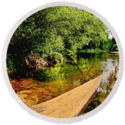 Castor River View Round Beach Towel