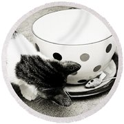 Cat And Mouse Coffee Round Beach Towel