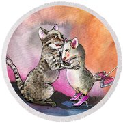 Cat And Mouse Reunited Round Beach Towel