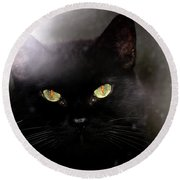 Cat Behind A Rain Spattered Window Round Beach Towel