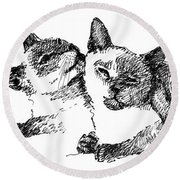 Cat-drawings-siamese-2 Round Beach Towel