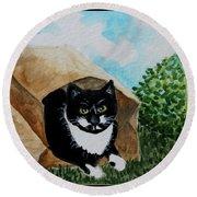 Cat In The Bag Round Beach Towel