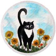Cat Walk Through The Sunflowers Round Beach Towel