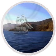 Catalina Shoreline Ghost Ship Round Beach Towel