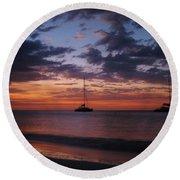 Catamarans  At Sunset Round Beach Towel