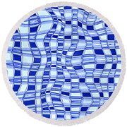 Catch A Wave - Blue Abstract Round Beach Towel