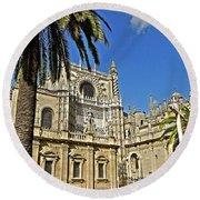 Catedral De Santa Maria De La Sede - Sevilla Round Beach Towel