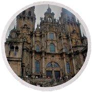 Cathedral At Santiago De Compostela Round Beach Towel