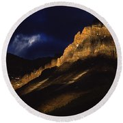 Cathedral Crags At Dusk, Yoho National Round Beach Towel