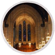 Cathedral In Chicago Round Beach Towel