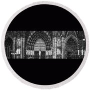 Cathedral In The Snow Panorama Round Beach Towel