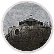 Cathedral On The Hill Round Beach Towel