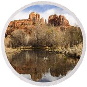 Cathedral Rock Reflections Landscape Round Beach Towel by Darcy Michaelchuk