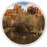 Cathedral Rock Reflections Portrait 1 Round Beach Towel by Darcy Michaelchuk