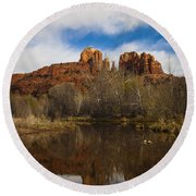 Cathedral Rock Reflections Portrait 2 Round Beach Towel by Darcy Michaelchuk