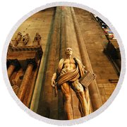 Cathedral Statue Milan Italy Round Beach Towel