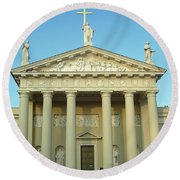 Cathedral. Vilnius. Lithuania Round Beach Towel