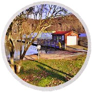 Catoctin Lake Boathouse Round Beach Towel