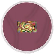 Cat's Tail In Motion. Stained Glass Effect. Round Beach Towel