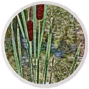 Cattails Along The Pond Round Beach Towel