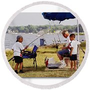 Caught Another One  Round Beach Towel by Brian Wallace