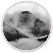 Caught Up In The Mist Round Beach Towel