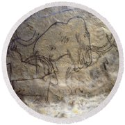 Cave Art - Mammoth And Ibexes Round Beach Towel