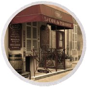 Cave Du Paradoxe Wine Shop In Beaune France Round Beach Towel