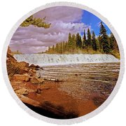 Cave Falls Round Beach Towel