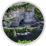 Cave Of The Bay Round Beach Towel