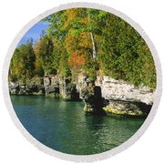 Cave Point Cove Round Beach Towel
