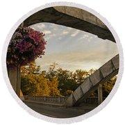 Caveman Bridge Arch And Flowers Round Beach Towel
