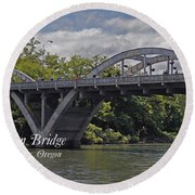Caveman Bridge With Text Round Beach Towel