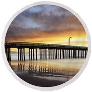 Cayucos Pier Reflected Round Beach Towel