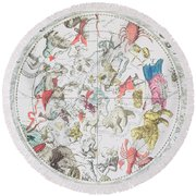 Celestial Planisphere Showing The Signs Of The Zodiac Round Beach Towel by Andreas Cellarius