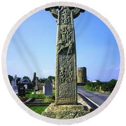 Celtic High Cross At Drumcliff Round Beach Towel