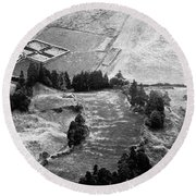 Cemetery And Pastures Round Beach Towel
