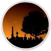 Cemetery And Tree Round Beach Towel