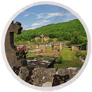 Cemetery In France Round Beach Towel