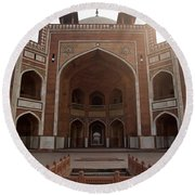 Central Cross Section Of Humayun Tomb In Delhi Round Beach Towel