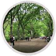 Central Park Arbor Walk Spring Round Beach Towel