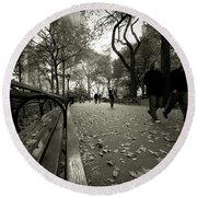 Central Park Bench Round Beach Towel