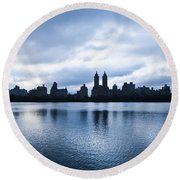Central Park Lake Round Beach Towel