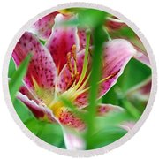 Central Park Lily Round Beach Towel