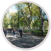 Central Park Mall Round Beach Towel by Rob Hans