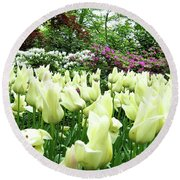 Central Park Tulips Round Beach Towel